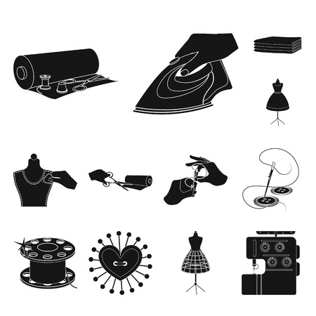 Atelier and equipment black icons in set collection for design. Sewing of outer clothing vector symbol stock  illustration. Иллюстрация