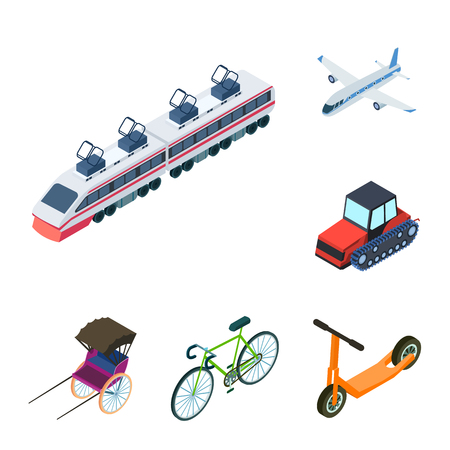 Different types of transport cartoon icons in set collection for design. Car and ship isometric bitmap symbol stock  illustration. Foto de archivo