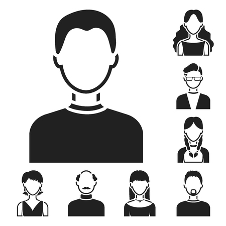Avatar and face black icons in set collection for design. A person appearance bitmap symbol stock illustration. Stock Photo