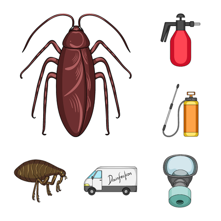 Pest, poison, personnel and equipment cartoon icons in set collection for design. Pest control service bitmap symbol stock  illustration.