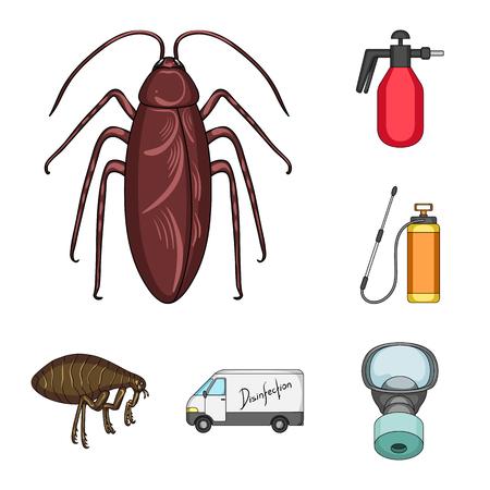 Plagas, veneno, personal y equipo, dibujos animados, iconos de colección set de diseño. Ilustración de stock de símbolo de mapa de bits de servicio de control de plagas.