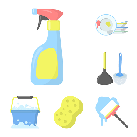 Cleaning and maid cartoon icons in set collection for design. Equipment for cleaning bitmap symbol stock  illustration.