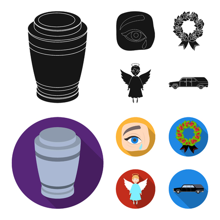 The urn with the ashes of the deceased, the tears of sorrow for the deceased at the funeral, the mourning wreath, the angel of death. Funeral ceremony set collection icons in black, flat style bitmap symbol stock illustration . Stock Photo