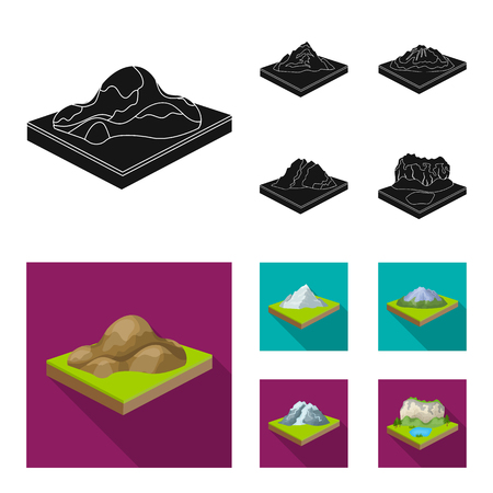 Mountains, rocks and landscape. Relief and mountains set collection icons in black,flat style isometric bitmap symbol stock illustration .