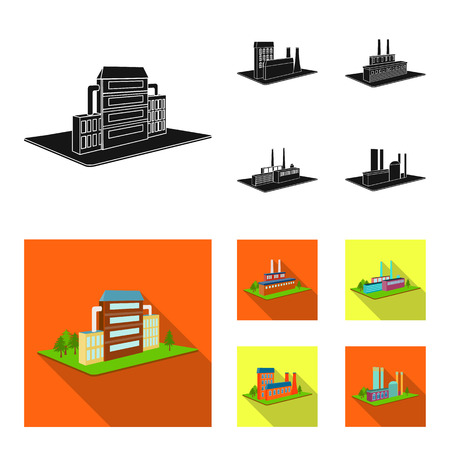Processing factory,metallurgical plant. Factory and industry set collection icons in black,flat style isometric bitmap symbol stock illustration . Фото со стока