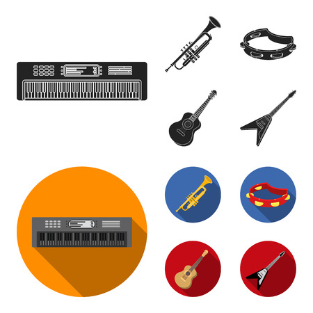 Electro organ, trumpet, tambourine, string guitar. Musical instruments set collection icons in black, flat style bitmap symbol stock illustration web.