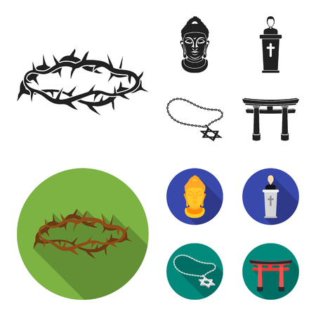 A crown of thorns, a star of David, a priest, a buddha head. Religion set collection icons in black, flat style bitmap symbol stock illustration .