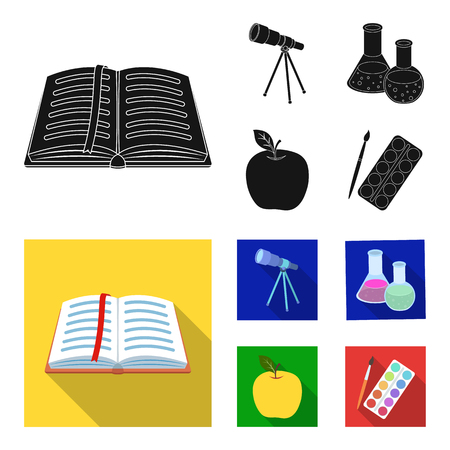 An open book with a bookmark, a telescope, flasks with reagents, a red apple. Schools and education set collection icons in black, flat style bitmap symbol stock illustration . Stock Photo