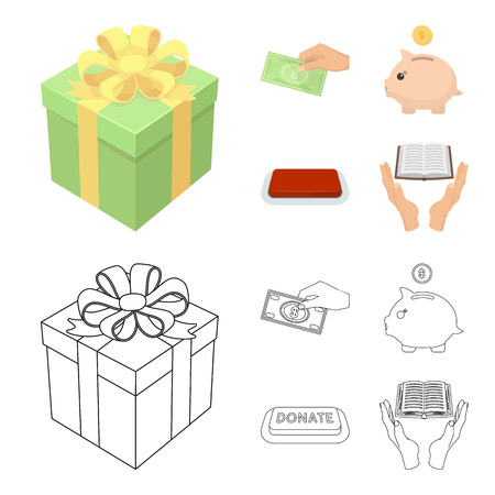 Hand with money for poshestvovaniya, a piggy bank for charity, a button with an inscription, a book for the blind in their hands. Charity and donation set collection icons in cartoon,outline style bitmap symbol stock illustration web.