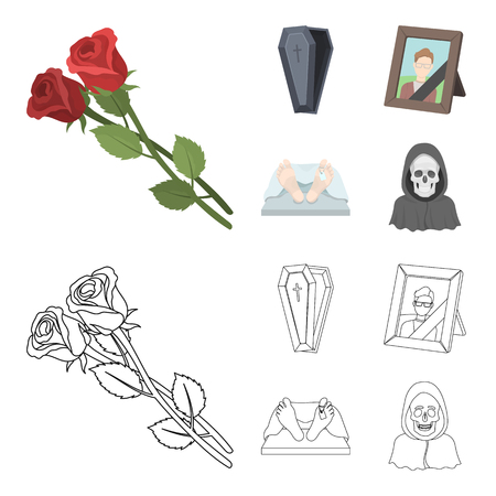 Coffin with a lid and a cross, a photograph of the deceased with a mourning ribbon, a corpse on the table with a tag in the morgue, death in a hood. Funeral ceremony set collection icons in cartoon,outline style bitmap symbol stock illustration web. Stock Photo