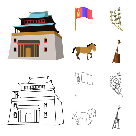 National flag, horse, musical instrument, steppe plant. Mongolia set collection icons in cartoon,outline style bitmap symbol stock illustration web. Stock Photo
