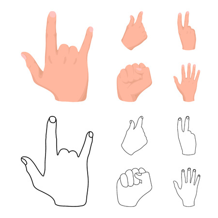 Open fist, victory, miser. Hand gesture set collection icons in cartoon,outline style bitmap symbol stock illustration web.