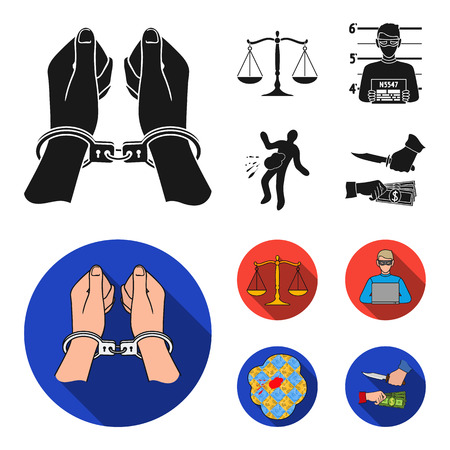Handcuffs, scales of justice, hacker, crime scene.Crime set collection icons in black, flat style bitmap symbol stock illustration web.