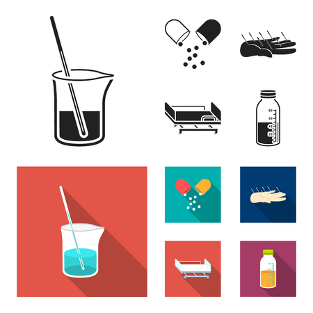 Solution, tablet, acupuncture, hospital gurney.Medicine set collection icons in black, flat style bitmap symbol stock illustration web.