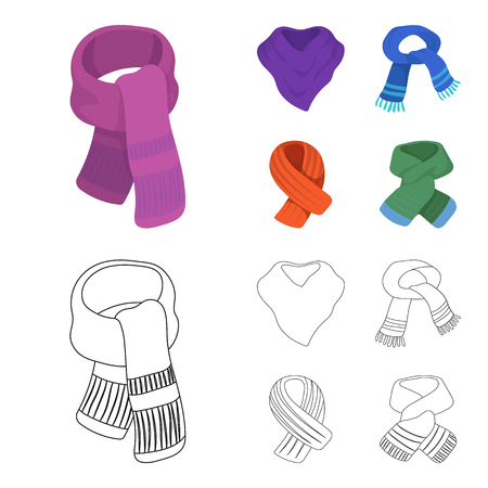 Various kinds of scarves, scarves and shawls. Scarves and shawls set collection icons in cartoon,outline style bitmap symbol stock illustration web.