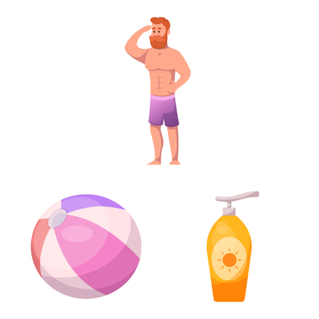 Vector illustration of pool and swimming icon. Collection of pool and activity stock symbol for web. Stock Illustratie