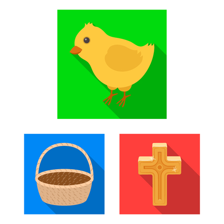 Easter is a Christian holiday flat icons in set collection for design. Easter attributes vector symbol stock web illustration.