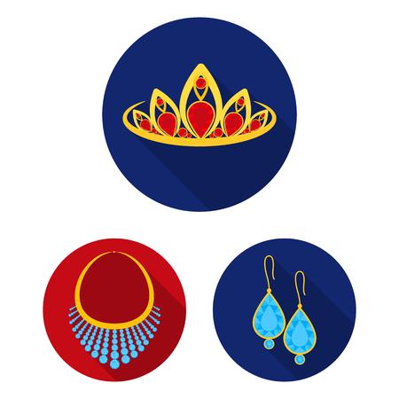 Joyería y accesorios planos iconos de colección set de diseño. Ilustración de stock de símbolo de vector de decoración.