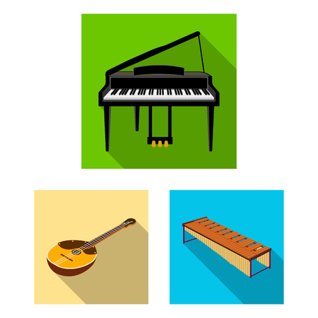 Musical instrument flat icons in set collection for design. String and Wind instrument isometric vector symbol stock  illustration. Illustration
