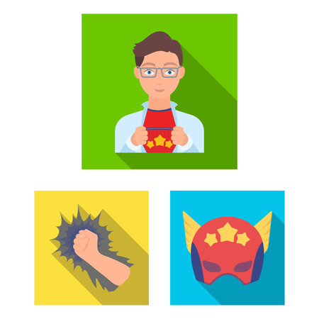 A fantastic superhero flat icons in set collection for design. Superhero s equipment vector symbol stock illustration. Illustration