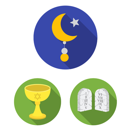 Religion and belief flat icons in set collection for design. Accessories, prayer vector symbol stock  illustration.