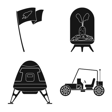 Vector illustration of mars and space icon. Set of mars and planet stock symbol for web. Vektorové ilustrace