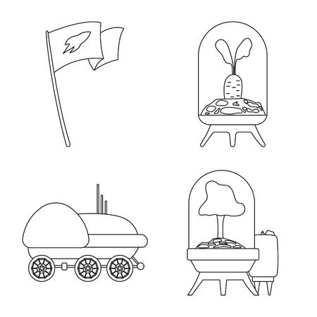 Vector illustration of mars and space symbol. Collection of mars and planet stock symbol for web. Vektorové ilustrace