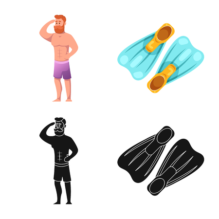 Vector illustration of pool and swimming logo. Set of pool and activity vector icon for stock.
