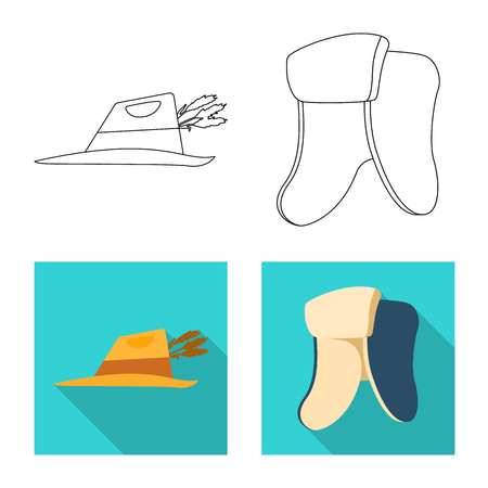 Vector design of headgear and cap symbol. Set of headgear and accessory stock vector illustration. Ilustracje wektorowe