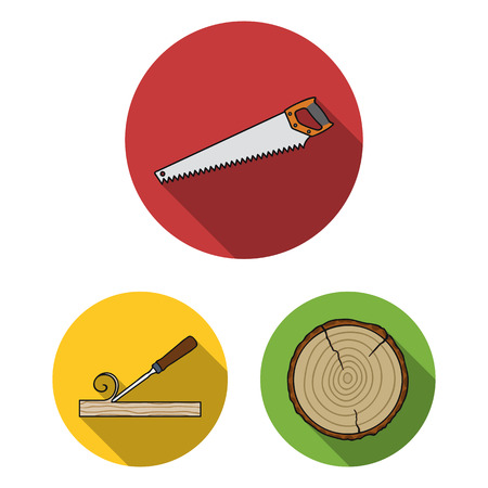 Sawmill and Timber flat icons in set collection for design. Hardware and Tools vector symbol stock  illustration. Ilustrace