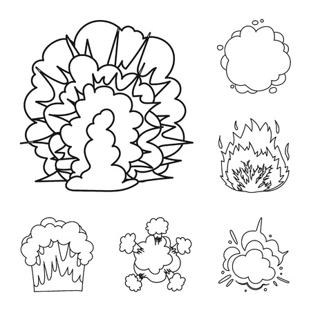 Different explosions outline icons in set collection for design.Flash and flame vector symbol stock  illustration.