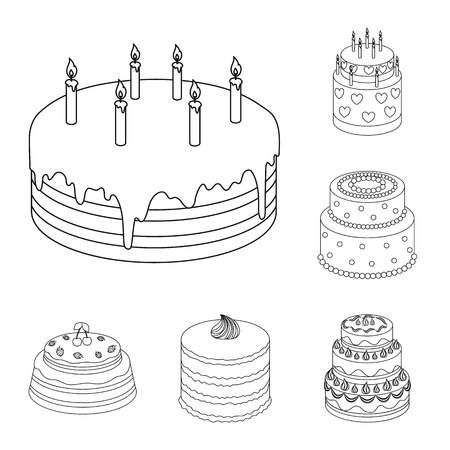 Cake and dessert outline icons in set collection for design. Holiday cake vector symbol stock web illustration.