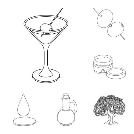 Olive, cibo muta icone nella raccolta di set per il design. Olio d'oliva, condimento simbolo vettore illustrazione stock. Vettoriali