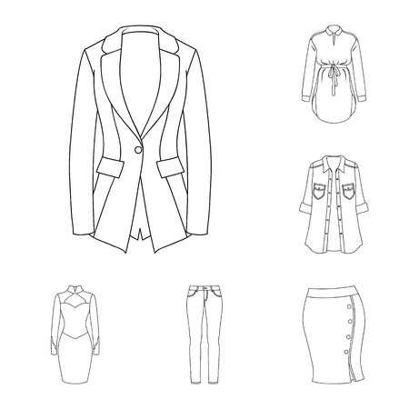 Women s Clothing outline icons in set collection for design.Clothing Varieties and Accessories vector symbol stock illustration.