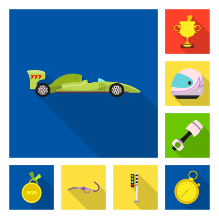 Isolated object of car and rally symbol. Collection of car and race vector icon for stock. Vettoriali
