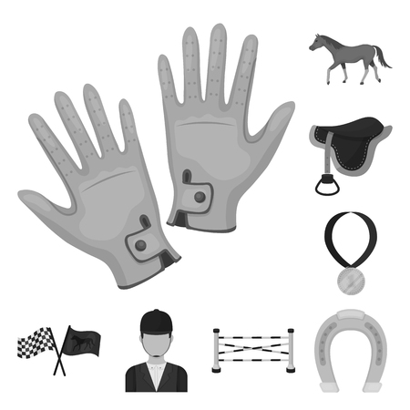 Hippodrome and horse monochrome icons in set collection for design. Horse Racing and Equipment vector symbol stock  illustration.