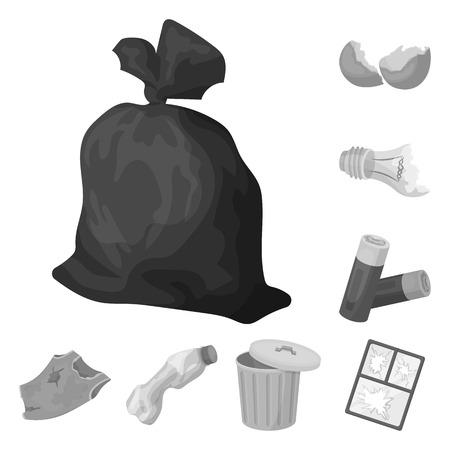 Garbage and waste monochrome icons in set collection for design. Cleaning garbage vector symbol stock illustration.