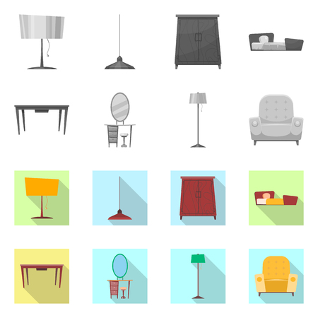 Vector design of furniture and apartment icon. Collection of furniture and home vector icon for stock.