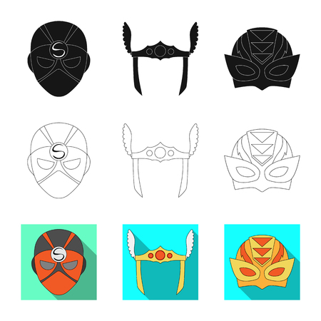 Vector design of hero and mask symbol. Collection of hero and superhero stock vector illustration. Illustration
