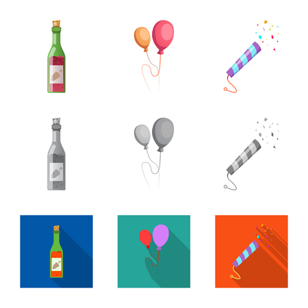 Isolated object of party and birthday sign. Collection of party and celebration stock symbol for web.