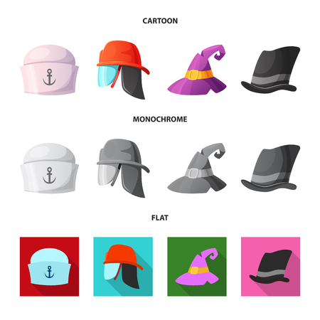 Vector illustration of headgear and cap icon. Set of headgear and accessory vector icon for stock.