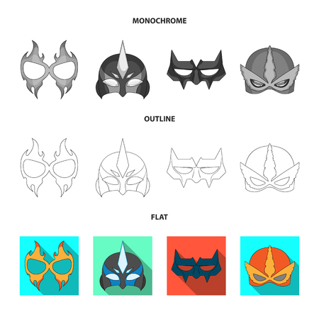 Isolated object of hero and mask sign. Set of hero and superhero stock vector illustration.