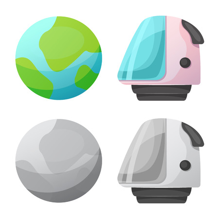 Vector illustration of mars and space icon. Collection of mars and planet stock symbol for web.
