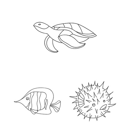 A variety of marine animals outline icons in set collection for design. Fish and shellfish bitmap symbol stock web illustration. Standard-Bild