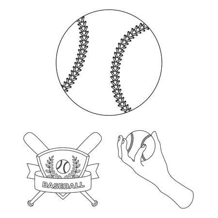 Baseball and attributes outline icons in set collection for design.Baseball player and equipment bitmap symbol stock web illustration.