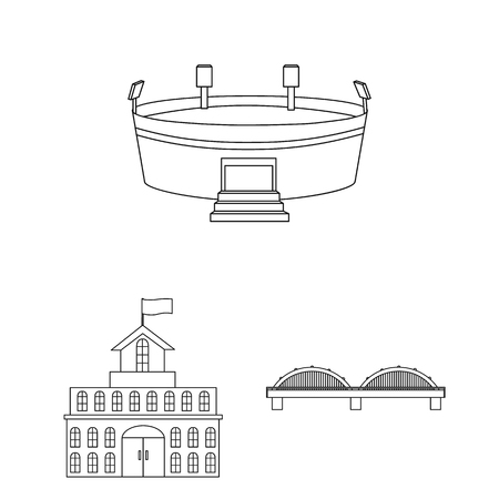 Building and architecture outline icons in set collection for design. Construction and Institution bitmap symbol stock web illustration. Stock Photo