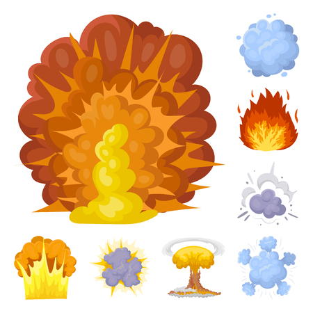 Different explosions cartoon icons in set collection for design.Flash and flame bitmap symbol stock web illustration.