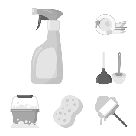 Cleaning and maid monochrome icons in set collection for design. Equipment for cleaning bitmap symbol stock web illustration.