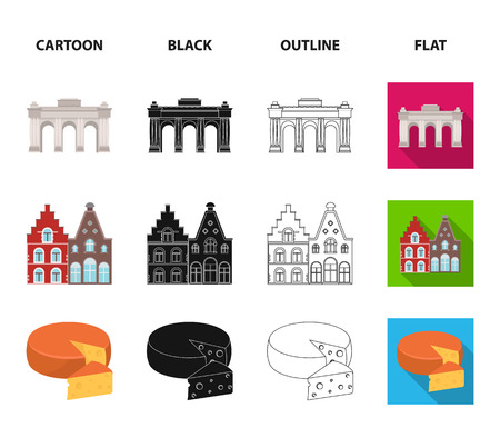 Chocolate, cathedral and other symbols of the country.Belgium set collection icons in cartoon,black,outline,flat style bitmap symbol stock illustration . Stock Photo