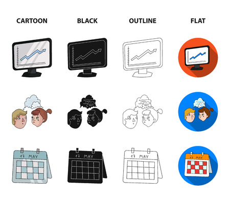 Businesswoman, growth charts, brainstorming.Business-conference and negotiations set collection icons in cartoon,black,outline,flat style bitmap symbol stock illustration .